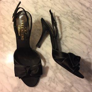 Valentino Garavani Shoes - Black Satin Valentino Garavani Bow Heels