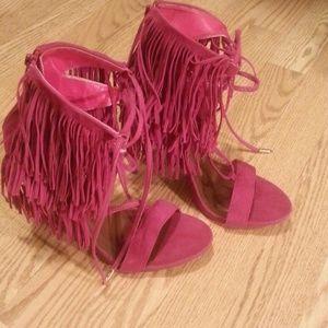 Pink fringe heels from shoe republic LA, lace up
