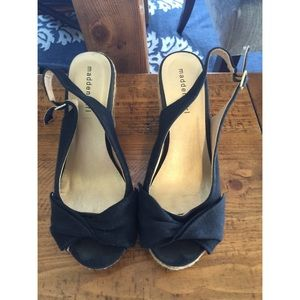 Madden Girl Black Bow Wedges