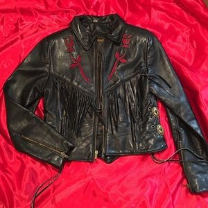 Protech Leather Apparel Jackets & Blazers - Vintage Black leather biker style jacket w/fringe