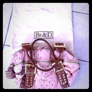 Be & D Handbags - Authentic Be & D pink suede studded handbag