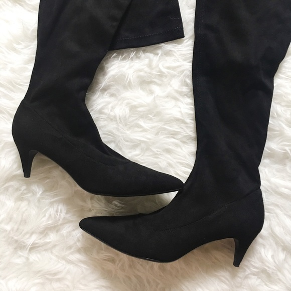 Zara - Zara suede over the knee kitten heel boots from Kathy's ...