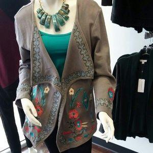 Grey embroidered shawl jacket