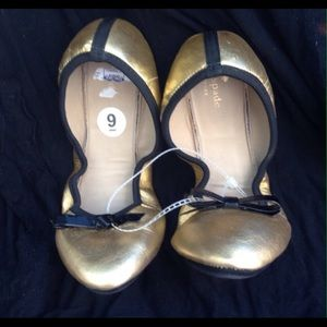 Kate Spade Frenchie Flats Gold Metallic Size 9