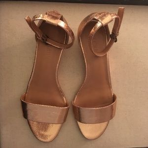J. Crew Rose Gold Demi-Wedge Sandals. NWOT
