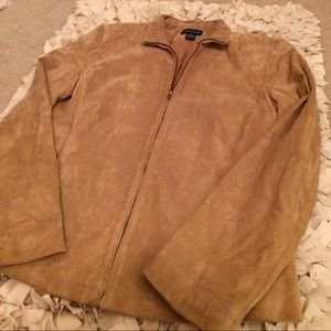 Ann Taylor Tan Leather Suede Zip-Up Jacket