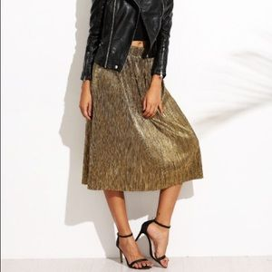 Gold Metallic Pleat Midi Skirt