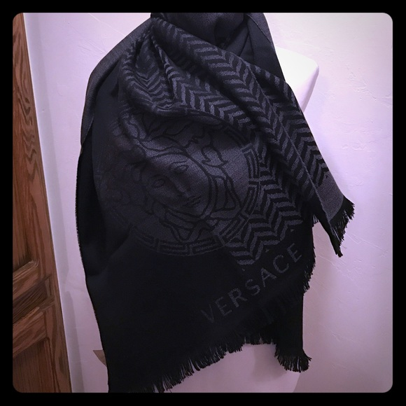 327154a3d Versace Accessories | Nwtoversized Wool Scarf In Grey Black | Poshmark