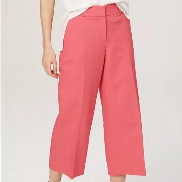 Loft Pants Cropped Wide Leg Pant Marisa Sz 14 Nwt Peony