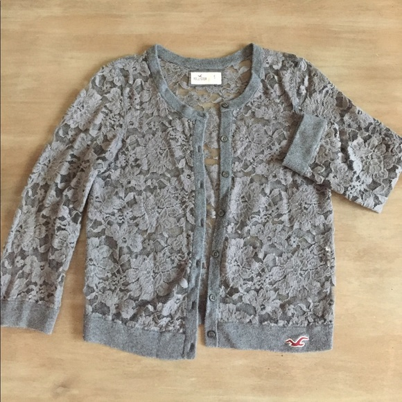 Hollister - Hollister Gray Lace Cardigan from Jamie's closet on ...