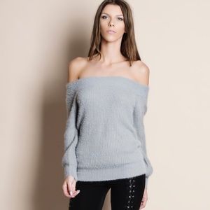 NBF ❤️ Off Shoulder Fuzzy Sweater Top