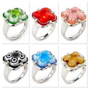 Alan K Jewelry - Murano Glass SS 925 rings by Alan K, select color