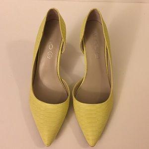 Aldo Yellow Leather Pumps 6.5