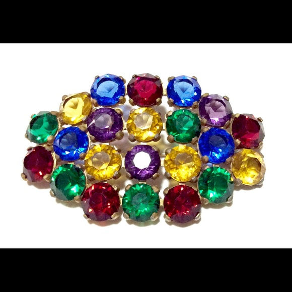Vintage Jewelry   Vintage Czech Jewel Tone Brooch