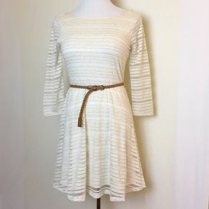 Lily Rose Dresses & Skirts - Oatmeal shadow striped dress