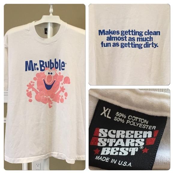 a2efe60b Vintage Shirts | Vtg Unisex Mr Bubble Double Sided T Shirt | Poshmark