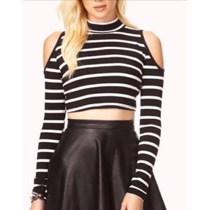 Necessary Clothing Tops - NWOT Striped cold shoulder crop top 💕