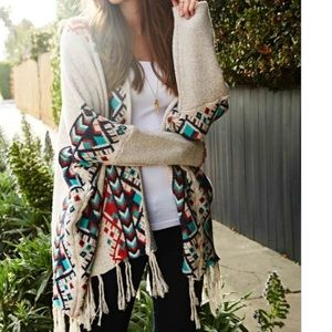 Sale- LONG SLEEVE FRINGE CARDIGAN