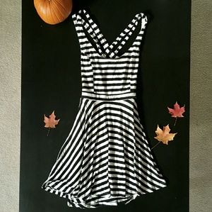 B&W stripe cross back dress