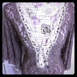 Front of Closet Tops - FRONT OF CLOSET LILAC BELL SLEEVE LACE TOP