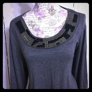 La Vanya Tops - La VANYA Beaded Gray Tunic