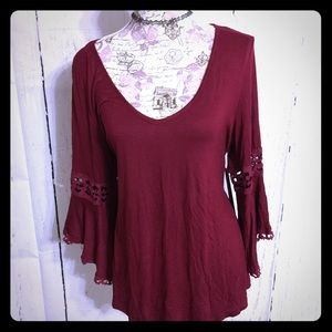 Kontrol Tops - KONTROL Wine Lace Bell Sleeve Blouse