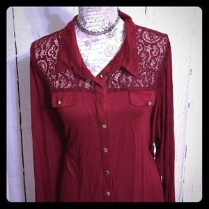 RnB Tops - RnB Wine colored Snap button down Blouse