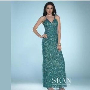 SEAN COLLECTION sz 2 Teal Long Sequin Gown Dress