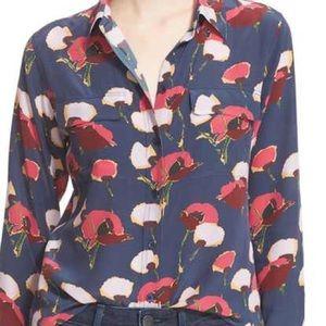 """Slim signature"" Floral Print Silk Shirt"