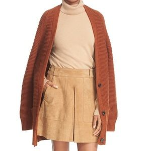 Crop Rib Wool & Cashmere Long V Neck Cardigan