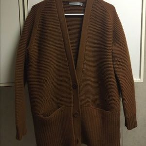 Vince Sweaters - Crop Rib Wool & Cashmere Long V Neck Cardigan