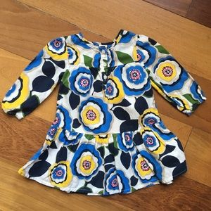 Old Navy flowered dress, Ivory/blue/yellow/green
