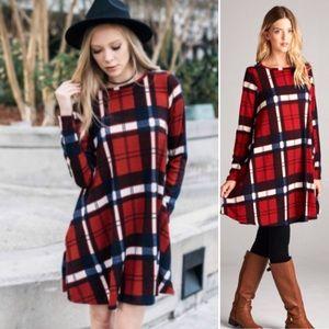 ❣️LAST-M❣️ Red Plaid Tunic Swing Mini Dress