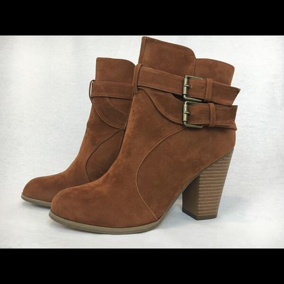 90ae7a6bbffe2 Brown Double Buckle Ankle Boots by Chase   Chloe