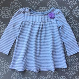 Gymboree gray/white striped shirt w/ lavender  bow