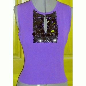 Que Tops - Q.U.E purple knit sleeveless blouse w/sequins M