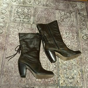 Mudd Brown high heel lace up boots 9