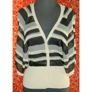 one a Sweaters - New ONE A black striped knit batting sweater PXS