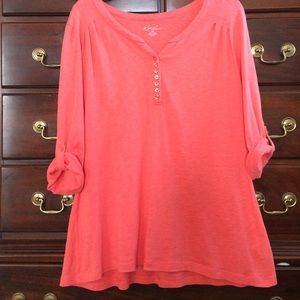 Kim Rogers Tops - Kim Rogers Orange Henley W/ Roll Tab Sleeve