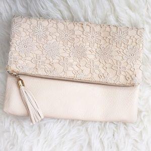 Handbags - White Lace Clutch