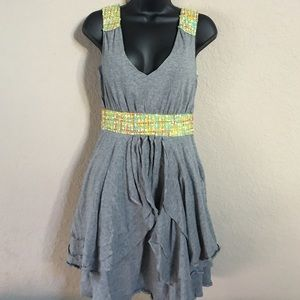 Nick & Mo Asymmetric Tiered & Tweed  Dress RARE