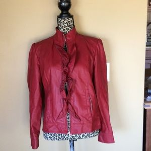 new directions Jackets & Blazers - New Directions Moto/Biker Faux Leather Wine Jacket