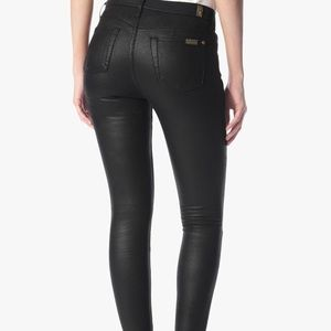 Faux Leather Skinny Jeans in Black