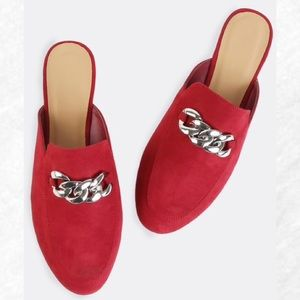 Shoes - |Last 1!| Red Suede Chain Loafers
