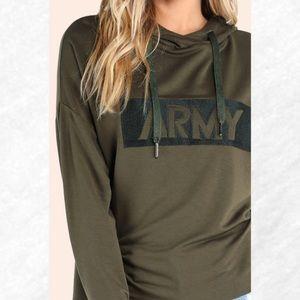 "Tops - ""Army"" Green Pullover Sweatshirt"