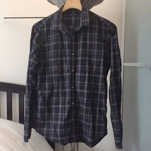 Theory Plaid Button Down Shirt