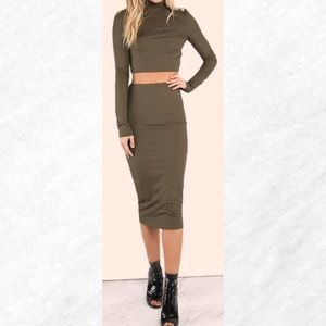 Dresses & Skirts - Last chance! Olive Ribbed Midi Bodycon Skirt