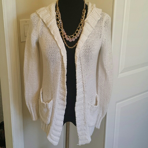 Michael Kors Sweaters White Thick Cable Knit Hooded Sweater Poshmark