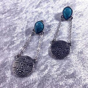 Turquoise Southwestern BOHO Drop Earrings