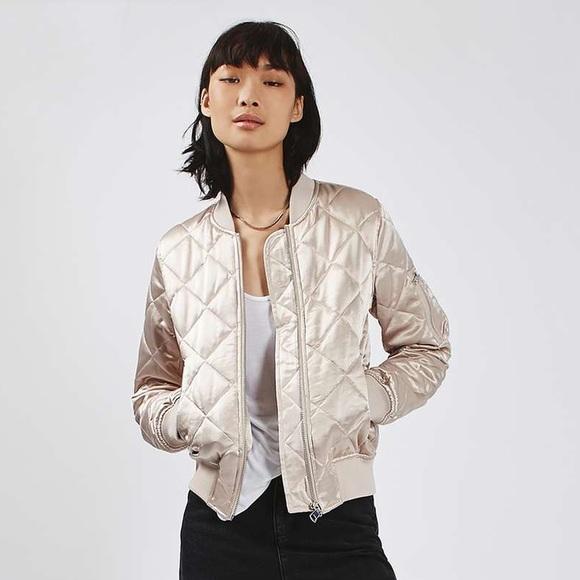 8e834e0128 Topshop Jackets & Coats | Quilted Shiny Ma1 Bomber Jacket | Poshmark